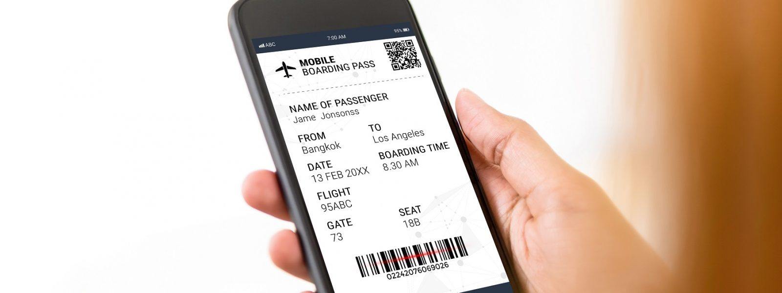 Passenger holding smartphone checking travel information on electronic boarding pass before flying